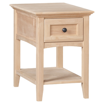 18.25W x 26D x 26H, with generous drawer, lower shelf, Alder