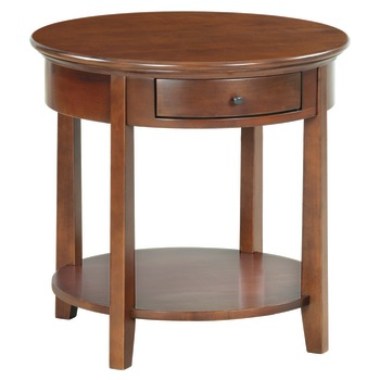 Alder, 26 diameter x 24.75 H, with drawer