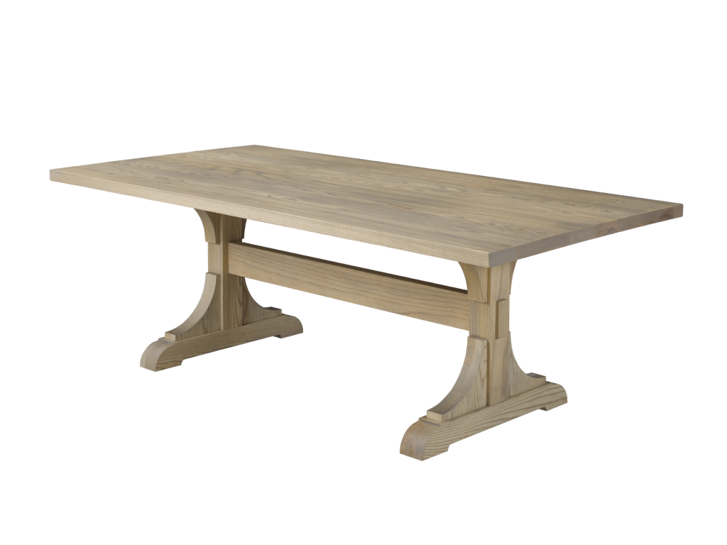 Solid wood classic trestle table, choose your size, wood, and finishing! Available with extensions. Shown in raw oak.