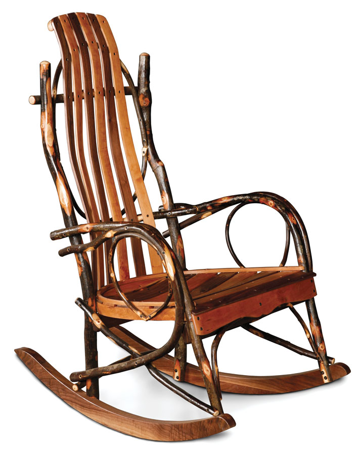 Handcrafted Hickory Rocker In Cherry And Walnut