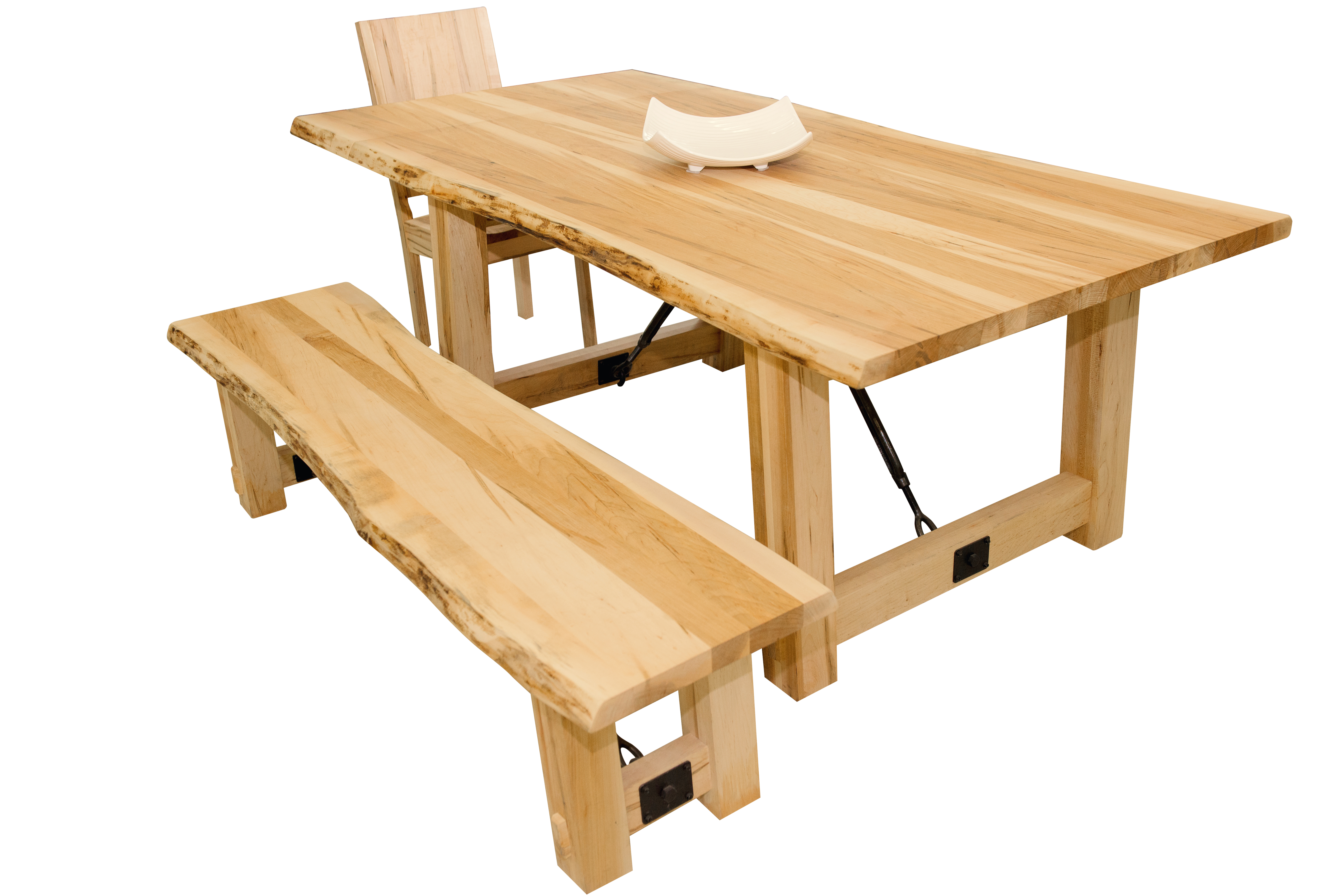 chairish dining product edge table pecan live spalted