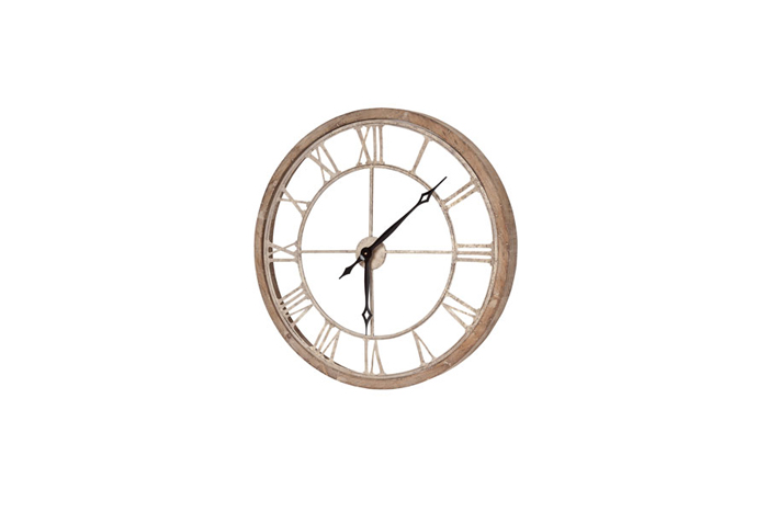 25x2x25 Oversized round, gold metal wall clock with Roman numeral wrapped in a natural wood frame. Uses 1 AA battery (not included)