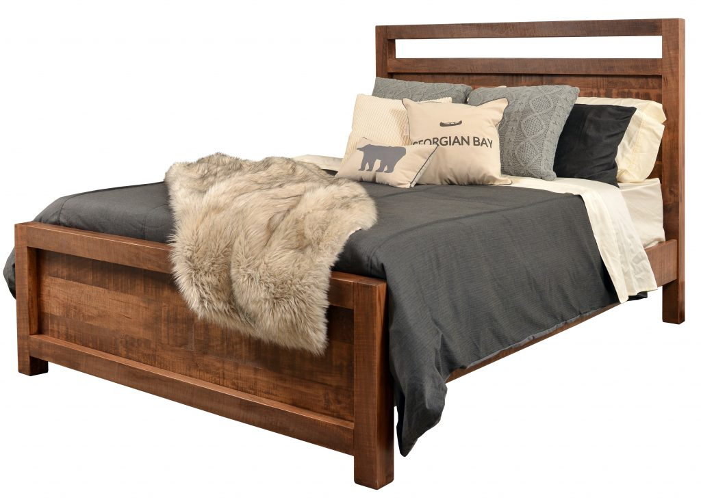 Comes in Queen and King, storage or non storage, many solid wood species and finishing options